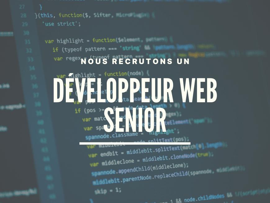 Nous recrutons un Développeur web Senior